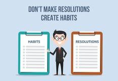 Confronti fra le risoluzioni e le abitudini per il nuovo anno dell'obiettivo per miglioramento royalty illustrazione gratis