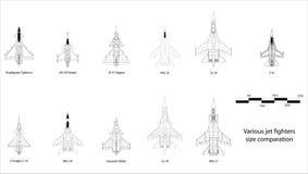 Confronto degli aerei da caccia Fotografia Stock