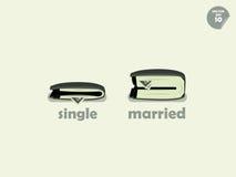Confronto dei soldi del portafoglio fra singolo e sposato Fotografia Stock Libera da Diritti