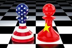 """Confronto di China†""""Stati Uniti e concetto di opposizione 3D r illustrazione di stock"""