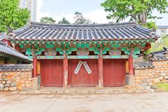 Confucian shrine-school Dongnae Hyanggyo in Busan, Korea. Gates of Confucian shrine-school Dongnae Hyanggyo in Busan, Korea. Founded in 1392, current view since stock images