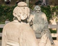 Confucius in bespreking met Lao Tze in Laoshan dichtbij Qingdao stock fotografie