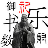 Confucius isolated and six classical arts Stock Photography