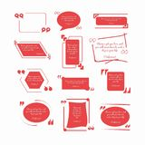 Confucius quotations in red frames with inverted commas Royalty Free Stock Images