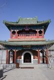 Confucius Temple, China. Entrance of the Confucius Temple. Beautiful red traditional oriental building with green roof, Beijing province, China royalty free stock photography