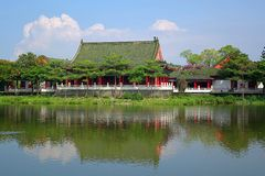 The Confucius Temple in Kaohsiung, Taiwan. Part of the Confucius Temple in Kaohsiung, Taiwan on the shore of the Lotus Lake Stock Photo