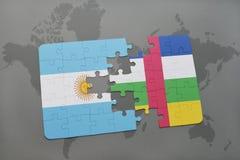 confunda com a bandeira nacional de Argentina e de Central African Republic em um mapa do mundo Fotos de Stock Royalty Free