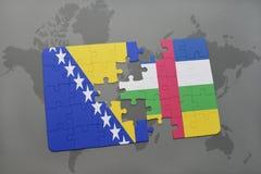 confunda com a bandeira nacional de Bósnia e Herzegovina e Central African Republic em um mapa do mundo Imagens de Stock Royalty Free
