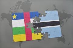 confunda com a bandeira nacional de Central African Republic e de botswana em um mapa do mundo Imagem de Stock