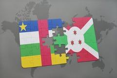 confunda com a bandeira nacional de Central African Republic e de burundi em um mapa do mundo Imagens de Stock
