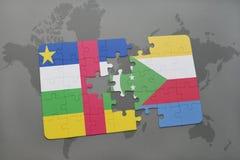 confunda com a bandeira nacional de Central African Republic e de Cômoros em um mapa do mundo Fotos de Stock Royalty Free