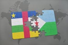 confunda com a bandeira nacional de Central African Republic e de djibouti em um mapa do mundo Fotos de Stock Royalty Free