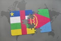 confunda com a bandeira nacional de Central African Republic e de eritrea em um mapa do mundo Fotos de Stock Royalty Free