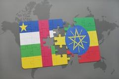 confunda com a bandeira nacional de Central African Republic e de Etiópia em um mapa do mundo Imagem de Stock
