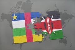 confunda com a bandeira nacional de Central African Republic e de kenya em um mapa do mundo Imagem de Stock Royalty Free