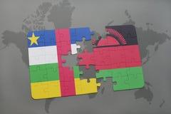 confunda com a bandeira nacional de Central African Republic e de malawi em um mapa do mundo Fotos de Stock Royalty Free