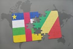 confunda com a bandeira nacional de Central African Republic e de República Democrática do Congo, congolês, Brazzaville, em um ma Foto de Stock Royalty Free