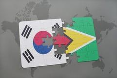confunda com a bandeira nacional de Coreia do Sul e de guyana em um fundo do mapa do mundo Imagem de Stock Royalty Free