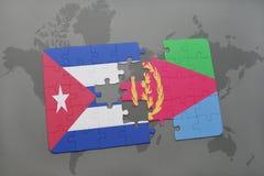confunda com a bandeira nacional de Cuba e de eritrea em um fundo do mapa do mundo Imagens de Stock
