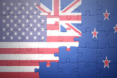 Confunda com a bandeira nacional de Estados Unidos da América e de Nova Zelândia Fotografia de Stock Royalty Free
