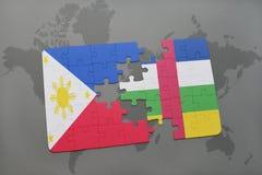 confunda com a bandeira nacional de Filipinas e de Central African Republic em um mapa do mundo Imagens de Stock