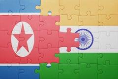 Confunda com a bandeira nacional de india e de Coreia do Norte foto de stock