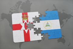 confunda com a bandeira nacional de Irlanda do Norte e de Nicarágua em um mapa do mundo Fotos de Stock Royalty Free