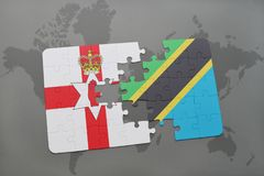confunda com a bandeira nacional de Irlanda do Norte e de Tanzânia em um mapa do mundo Imagem de Stock Royalty Free