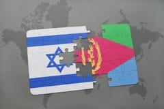 confunda com a bandeira nacional de Israel e de eritrea em um fundo do mapa do mundo Imagem de Stock Royalty Free