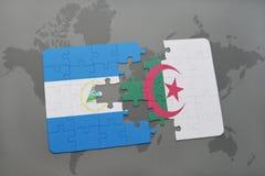 confunda com a bandeira nacional de Nicarágua e de Argélia em um mapa do mundo Fotos de Stock