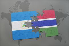 confunda com a bandeira nacional de Nicarágua e de gambia em um mapa do mundo Imagem de Stock Royalty Free