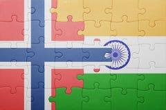 Confunda com a bandeira nacional de Noruega e de india Imagem de Stock Royalty Free