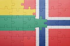 confunda com a bandeira nacional de Noruega e de lithuania imagem de stock royalty free