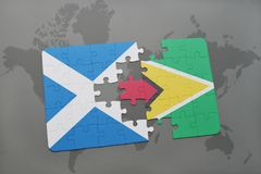confunda com a bandeira nacional de scotland e de guyana em um mapa do mundo Fotos de Stock Royalty Free