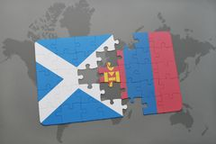 confunda com a bandeira nacional de scotland e de mongolia em um mapa do mundo Foto de Stock