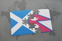 confunda com a bandeira nacional de scotland e de nepal em um mapa do mundo Foto de Stock Royalty Free
