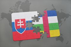 confunda com a bandeira nacional de slovakia e de Central African Republic em um mapa do mundo Fotografia de Stock
