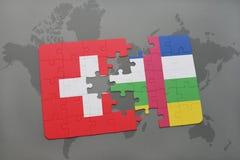 confunda com a bandeira nacional de switzerland e de Central African Republic em um fundo do mapa do mundo Imagem de Stock