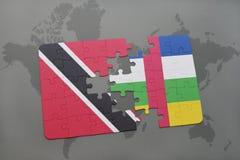 confunda com a bandeira nacional de Trinidad and Tobago e de Central African Republic em um mapa do mundo Foto de Stock