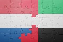 Confunda com a bandeira nacional de United Arab Emirates e de Países Baixos Fotografia de Stock