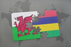 confunda com a bandeira nacional de wales e de Maurícia em um mapa do mundo Foto de Stock