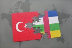 confunda com a bandeira nacional do peru e do Central African Republic em um mapa do mundo Imagens de Stock Royalty Free