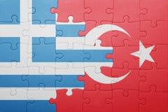 Confunda com a bandeira nacional do peru e do greece fotografia de stock royalty free