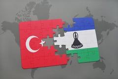 confunda com a bandeira nacional do peru e do lesotho em um mapa do mundo Imagem de Stock