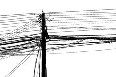 Confusão caótica do fios em uma coluna foto de stock royalty free