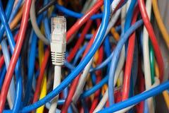 Confusão do cabo da rede Fotografia de Stock