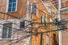 Confusão dos fios em Valparaiso, qui foto de stock