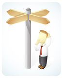 So confuse. Vector Illustration of a businessman is confuse to choose the right decision by standing near the direction way Stock Images