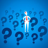 Confuse men with question mark Royalty Free Stock Images