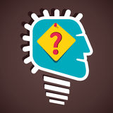 Confuse men. Question mark symbol pin in human head Stock Photography